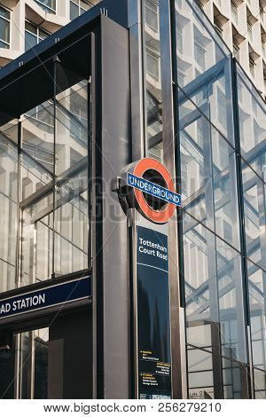London, Uk - July 24, 2018: Underground Sign At Tottenham Court Road Station, London, Uk. Tottenham