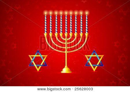 illustration of burning candle in Hanukkah Menorah with star of david