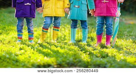 Kids In Rain Boots. Foot Wear For Children.