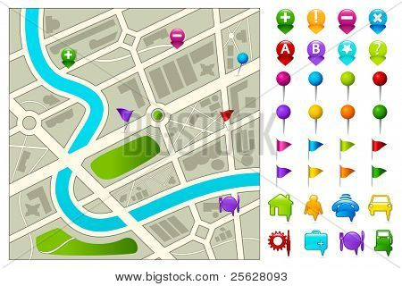 illustration of road map with gps icon set on white background