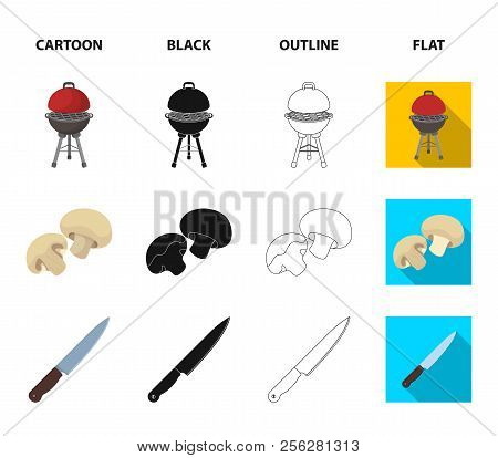Barbeque Grill, Champignons, Knife, Barbecue Mitten.bbq Set Collection Icons In Cartoon, Black, Outl