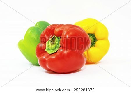 Colorful Vegetables On White Background. Peppers. Healthy Food.