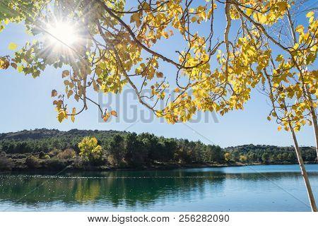 Autumn Landscape In Natural Park Lagunas De Ruidera. Castilla La Mancha. Spain.
