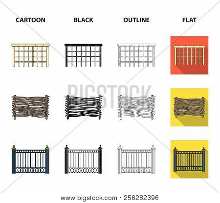 A Fence Of Metal And Bricks, Wooden Palisade. A Different Fence Set Collection Icons In Cartoon, Bla
