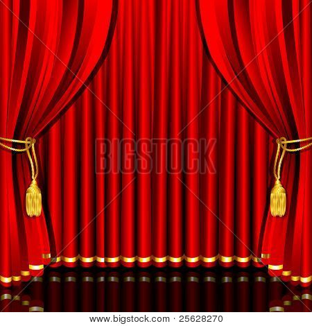 illustration of red stage curtain drape tied with rope