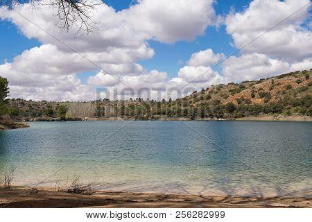 Cloudy Sky On The Water Of Lake. Natural Park Lagunas De Ruidera. Castilla La Mancha. Spain.