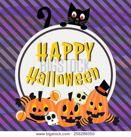 Happy Halloween Background. Cute Black Cat And Halloween Pumpkins.