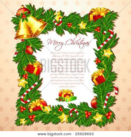 illustration of christmas card with decorated frame and bell
