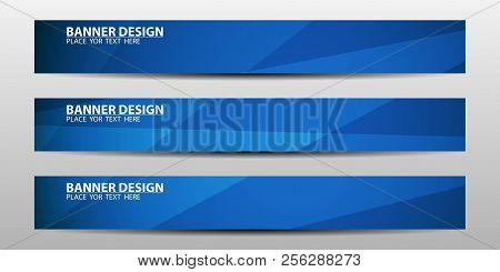 Abstract Banner Design With Blue Geometric Background.vector Illustration