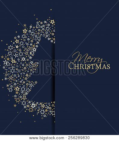 Vector Illustration Of A Christmas Background. Christmas Tree Made Of Stars. Happy Christmas Greetin