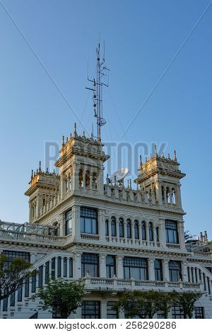La Coruna, Spain. August 20, 2018: Old Radio Station Building With Crenellated Towers On Top And Rad
