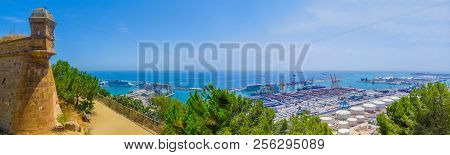 Beautiful panoramic view of the sea, the sea port, the tower of the Fortress on Montjuic mountain in Barcelona (panorama of the South-Western part of the city - industrial area) poster