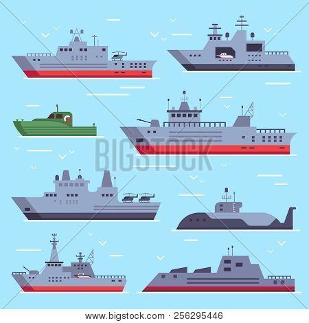 Flat Military Boats. Navy Battle Ships, Sea Combat Security Boat And Battleship Weapon. Naval Warshi