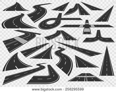 Curved Road In Perspective. Bending Highways Curves, Rural Bended Asphalt And Curving Turn Roads Vec
