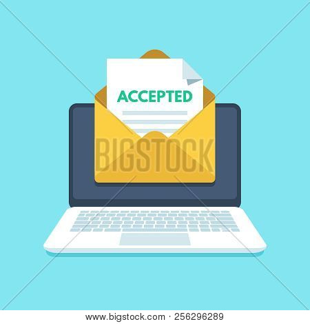 Accepted Email In Envelope. College Acceptance Success Or University Admission Letter. Mail In Lapto