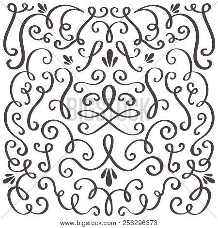 Decorative Swirls. Swirled Vintage Ornament, Swirling Border And Simple Frame. Swirl Decoration Bord
