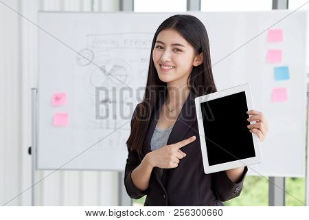 Clipping Path On Black Screen,business Woman Pointing Finger And Holding Digital Tablet Computer Iso