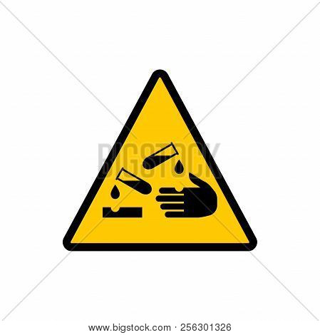 Corrosive Material Yellow Triangle Sign. Corrosive Hazard Warning Vector Sign.