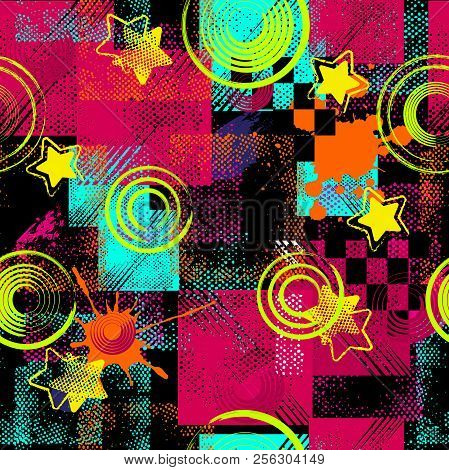 Abstract Seamless Sport Pattern For Girls, Boys. Creative Sport Pattern With Dots, Geometric Figures