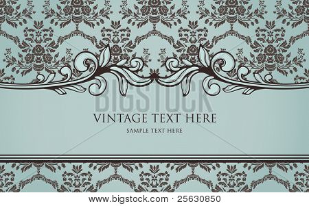 vintage frame on seamless damask background