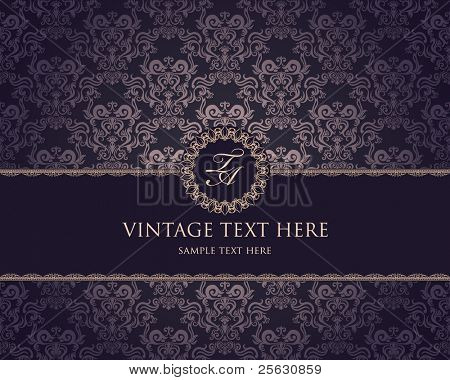 vintage frame on damask background
