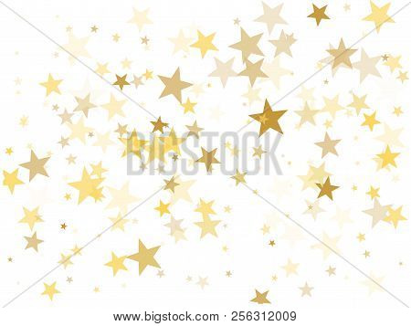 Gold Star Dust Sparkle Vector On White. Geometric Cosmic Background With Gold Star Elements Flying.