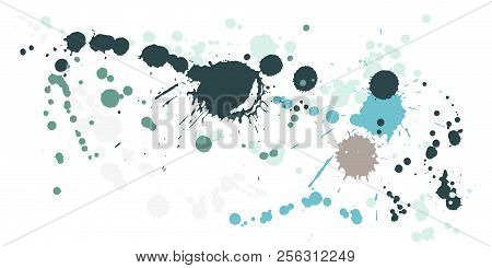 Ink Stains Grunge Background Vector. Colorful Ink Splatter, Spray Blots, Dirty Spot Elements, Wall G