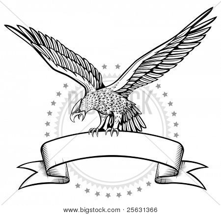 Spread wing eagle banner