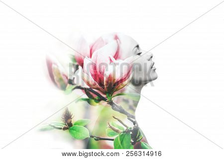 Double Exposure Made With Young Nude Beautiful Woman With Healthy Skin And Spring Magnolia Flowers,