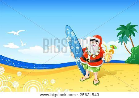 Christmas Santa on the Beach