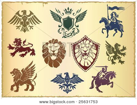 Heraldic vector set with lion, eagle and ornate