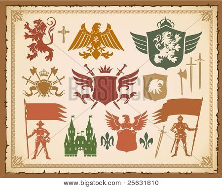 Heraldic medieval set with lions, knights and eagles