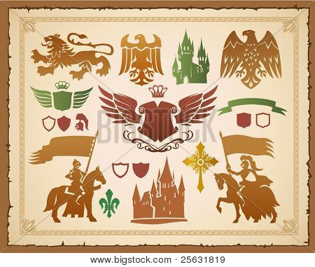 Heraldic set with lions, knights and eagles