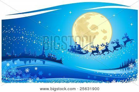 Santa Into the Christmas Night Card