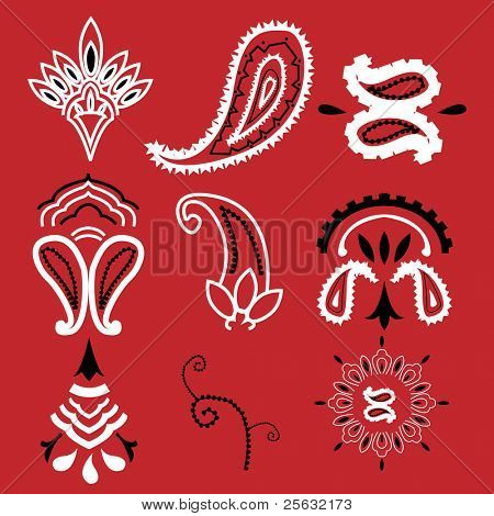 Nine elements commonly used for a bandanna.