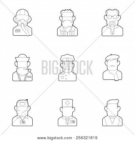 Occupation Icons Set. Outline Illustration Of 9 Occupation Icons For Web