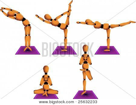 Vector figurine named Woody showing five different yoga postures to practice on a daily basis.