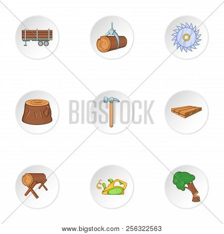 Sawing Woods Icons Set. Cartoon Illustration Of 9 Sawing Woods Icons For Web