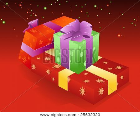 Your X-mas gifts are in these boxes, hurry to open them. Linear and radial gradients used.