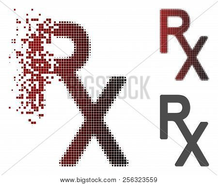 Rx Medical Symbol Icon In Fractured, Dotted Halftone And Undamaged Whole Versions. Particles Are Com