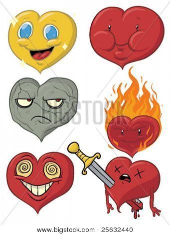 Six cartoon hearts