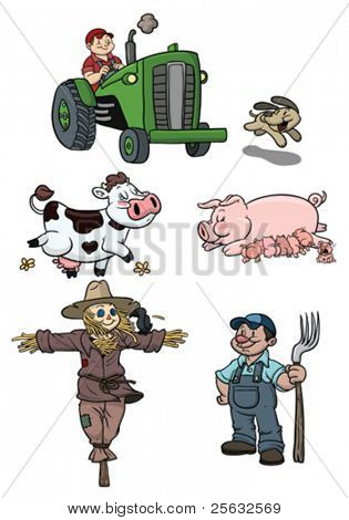 Cartoon elements from the farming industry. All elements in separate layers for easy editing.