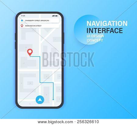 Gps Navigation App On Mobile Phone. City Map Navigation. Mobile App Interface Concept Design. Vector