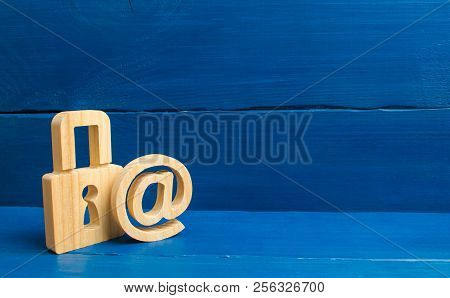 The Email Symbol And The Lock. Protection Of Personal Data And Privacy Of Correspondence. Protection