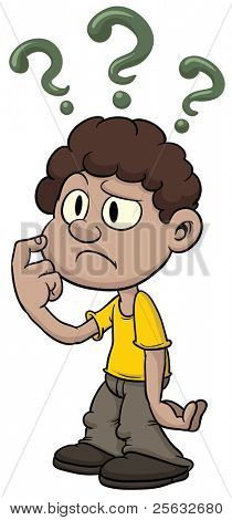 Cute cartoon kid with questions and doubts.