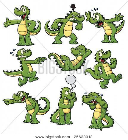 Nine cartoon crocodiles. All can be used separately as they are placed on different layers.
