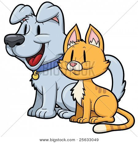 Cute cartoon cat and dog. Both in separate layers for easy editing.