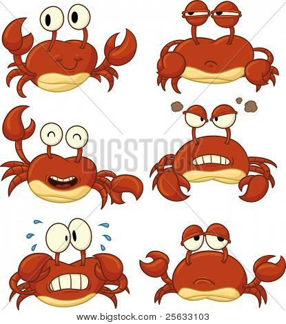 Cute cartoon crabs. All in separate layers for easy editing.