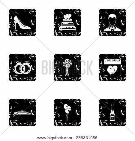 Marriage Ceremony Icons Set. Grunge Illustration Of 9 Marriage Ceremony Icons For Web