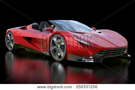 Red Conceptual Sports Cabriolet For Driving Around The City And Racing Track On A Black Background.